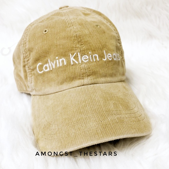 Calvin Klein Tan Corduroy Strapback Dad Hat Cap 89ed6d57bd2